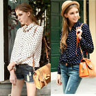 Womens Girl Blouse Shirt Polka Dot Chiffon Long Sleeve Vintage Navy White Tops