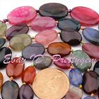 MULTI-COLOR FACETED OVAL CRACKED JEWELRY LOOSE AGATE GEMSTONE BEADS STRAND 15""