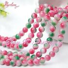 "Smooth Round Shape Candy Multicolor Jade Gemstone Spacer Loose Beads 15"" 6-14mm"