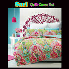 SARI Indian Inspired - Quilted QUILT COVER Set - SINGLE DOUBLE QUEEN KING