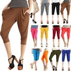 Hot Women Girl Loose Basic Stretch Capri Cropped Harem Pants Leggings Trousers