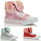 GIRLS CHILDRENS KIDS LACE UP SEQUIN TARTAN HI TOP ANKLE TRAINER BOOTS SIZE