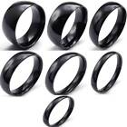 Mens Charm 10/8/6/5/4/3/2mm Black Stainless Steel Ring All Size6-13 Gift Biker