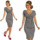 Houndstooth Check Pleated Chequered Jersey Short Sleeve Dress V Neck UK 6-20 068