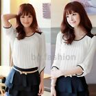 UK 8-14 Vintage Korean Chiffon Pleated Long Sleeve Casual Top T Shirt Blouse