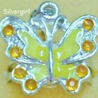 Fun Silver Plated Adjustable Butterfly with Crystal OOAK Rings 5 Colors