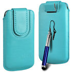 Magnetic PU Leather Pull Tab Flip Case & Stylus For Huawei Phones