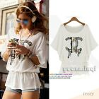 Fashion Womens Batwing Sleeve O-Neck Printed Peplum Cotton T-Shirt Tee Top White