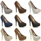 WOMENS LADIES PARTY PROM WEDDING PLATFORM PUMPS HIGH HEELS COURT SHOES SIZE