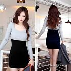 Women Long Sleeve U-Neck Knitting Patchwork Contrast Stretch Slim Mini Dress M L