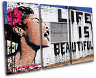 Life is Beautiful  Banksy Street TREBLE CANVAS WALL ART Picture Print VA
