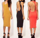 Modal Sexy Backless Stretch Bodycon Clubwear Evening Party Cocktail Mid Dress S3