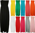 New Plus Size Womens Shirred Ladies Bandeau Strapless Long Maxi Dress 16 - 22