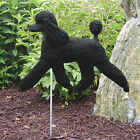 Poodle Outdoor Garden Dog Sign Hand Painted Figure Black