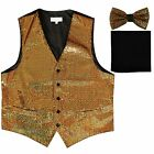 New Men's Sequin GOLD Tuxedo VEST Waistcoat  BOW TIE and SOLID BLACK HANKIE set