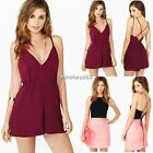 Women Hollow Halter Chiffon Chest Cover Back Tops Dress Playsuit Shorts N4U8