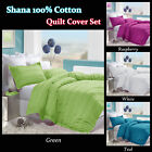 Raspberry Green White Teal SHANA Ruche Quilt/Duvet Cover Set COTTON - QUEEN KING