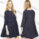 New Women's Summer Crew Neck Pleated Polka Dot Loose Casual Relaxed Fit Dresses