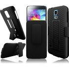 Samsung Galaxy S5 BLACK HOLSTER i9600 Combo Belt Clip Kick Stand Phone Case