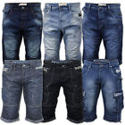 Mens Denim Crosshatch Shorts Cargo Combat Jeans 3 4 Roll Up Summer Casual New
