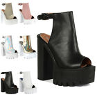 Ladies Faux Leather Womens Cleated Summer Punk Platform Sandals Shoes Size 4-9