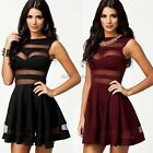 SEXY CUT OUT BANDAGE MESH PANEL mini TOWIE STYLE SKATER DRESS BLACK DARK RED It