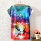 2014SS vintage womens Galaxy Stars Graphic Printed short sleeve T Shirt tee Tops