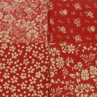 4 x Fat Quarters Floral Beige and Red Cotton Fabric