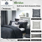 MERIDIAN Black Jacquard Quilt Cover Set by Platinum Collection - QUEEN KING CUSH