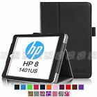 "For HP 8 (Model 1401) 7.85"" Tablet Folio Premium Vegan Leather Stand Cover Case"