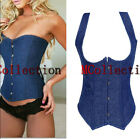 Sexy Boned Underbust Blue Denim Corset Top with Straps Shaper Waistcoat Customes