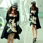 Women Spring Loose Long Punk Blouse Skull Head Print Irregular T-shirt Top N4U8