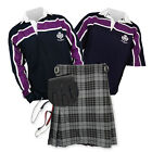 Kilt Outfit 'Sports Essential' - Purple Stripe Rugby Top - Granite Grey
