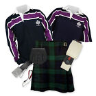 Kilt Outfit 'Sports Premium' - Purple Stripe Rugby Top - Black Watch
