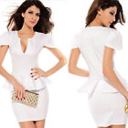Women's Sexy Ladies Deep V Neck Midi Peplum Tunic Bodycon Party Cocktail Dress
