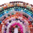 "6MM FROST ROUND AGATE LOOSE JEWELRY GEMSTONE BEADS STRAND 15"",SELECT BY COLOR"