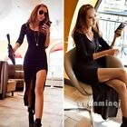 Autumn Women Long Sleeve Slim Knit Club Party Cocktail Sexy Slit High Low Dress