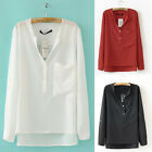 2014 New womens Basic Chiffon Top Casual Foldable Long Sleeve Loose Shirt Blouse