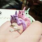 New Korea Hot Selling Fashion Women Cute Candy Color Horse Ring