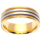 14K Two Tone Yellow White Gold Three Row Rope Wedding Ring Band 7mm (WJRL05474)