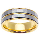 14K Two Tone Yellow White Gold Two Row Textured Wedding Band 7.5mm (WJRL06374)
