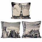 "Large City Tapestry Cushion Cover In Vintage Black & Cream - 24"" X 24"""