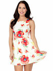 Ladies Scoop Neck and Full Zipper Flared Floral Print Dress Skirt