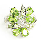 LOWEST PRICE 3ct Genuine Peridot Ring Pure Solid 925 Sterling Silver
