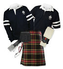 8yd Kilt Outfit 'Sports Premium' - 2-Stripe Rugby Top - Stewart Black