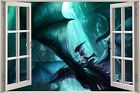 Huge 3D Window Fairy tale Fantasy Dragon View Wall Stickers Film Decal Wallpaper