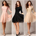 Fashion Ladies 3/4 Sleeve Dresses Slim Fit Tunic Evening Party Dress Ball Gown