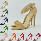 SEXY WOMENS PARTY FAUX SUEDE OPEN TOE HIGH HEELS SHOES SANDALS SIZE UK 2-9