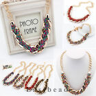 Temperament Pure Hand-made Bohemian Bead Alloy Choker Chunky Statement Necklace