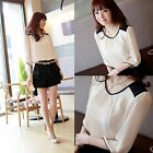 Womens Korean Style Chiffon 3/4 Sleeve Crew Neck Pleated T-shirt Blouse Tops